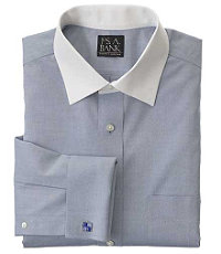 Traveler Pinpoint Solid Spread Collar,French Cuff Dress Shirt