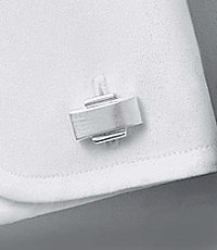 Classic Brushed Silver Rectangle Cufflinks