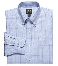 Traveler Pinpoint Glen Plaid Buttondown Collar Dress Shirt Big or Tall