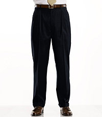 Traveler Washable Wool Solid Pleated Pants