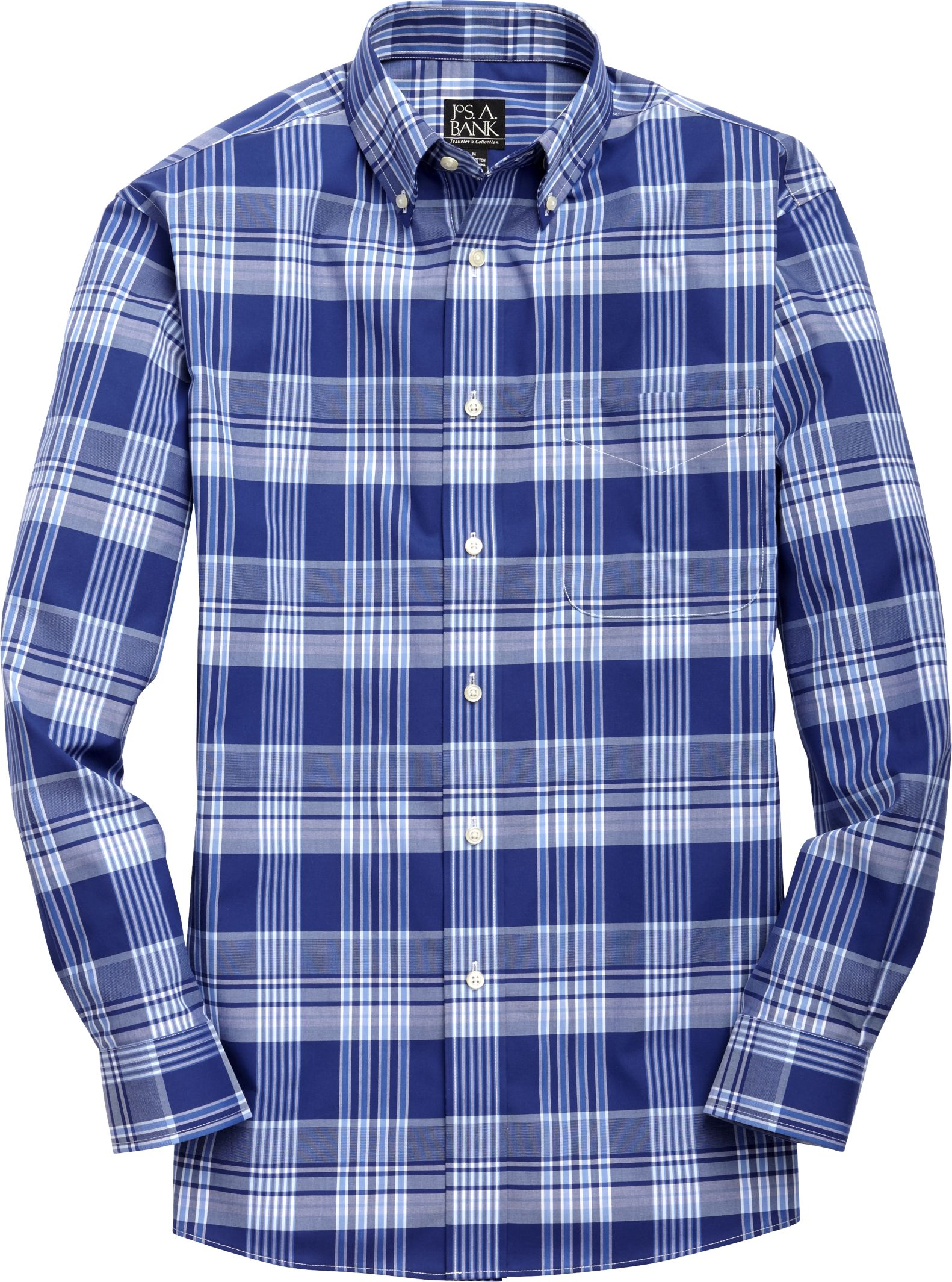 Traveler Collection Traditional Fit Plaid Sportshirt
