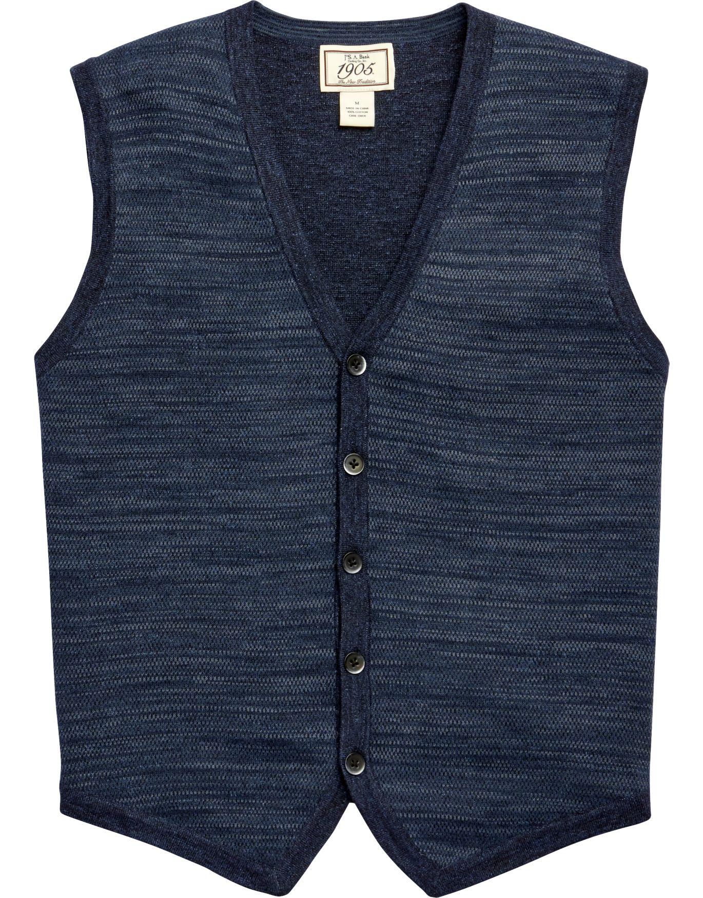 1905 Indigo Cardigan Vest CLEARANCE - All Clearance | Jos A Bank