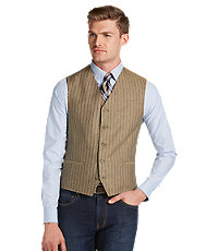 Men's Vintage Inspired Vests Classic Collection Tailored Fit Tan  Brown Stripe Vest Big and Tall $79.99 AT vintagedancer.com