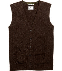 1920s Style Mens Vests 1905 Ribbed Knit Tailored Fit Mens Sweater Vest Big and Tall - 3 X Big Grey $69.75 AT vintagedancer.com