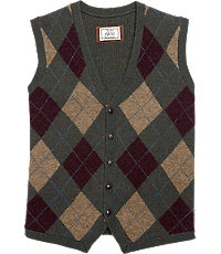 Men's Vintage Inspired Vests 1905 Tailored Fit Argyle Mens Sweater Vest - Big and Tall - 2 X Big 2 X Big Olive Multi Olive Multi $49.00 AT vintagedancer.com