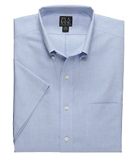 Traveler Pinpoint Short Sleeve Solid Buttondown Collar Dress Shirt