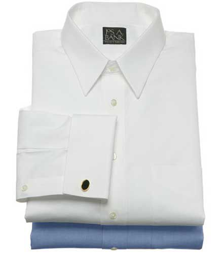 Traveler Pinpoint Solid Point Collar French Cuff Dress Shirt $39.49 AT vintagedancer.com