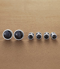 Grey Cats Eye Stud Set
