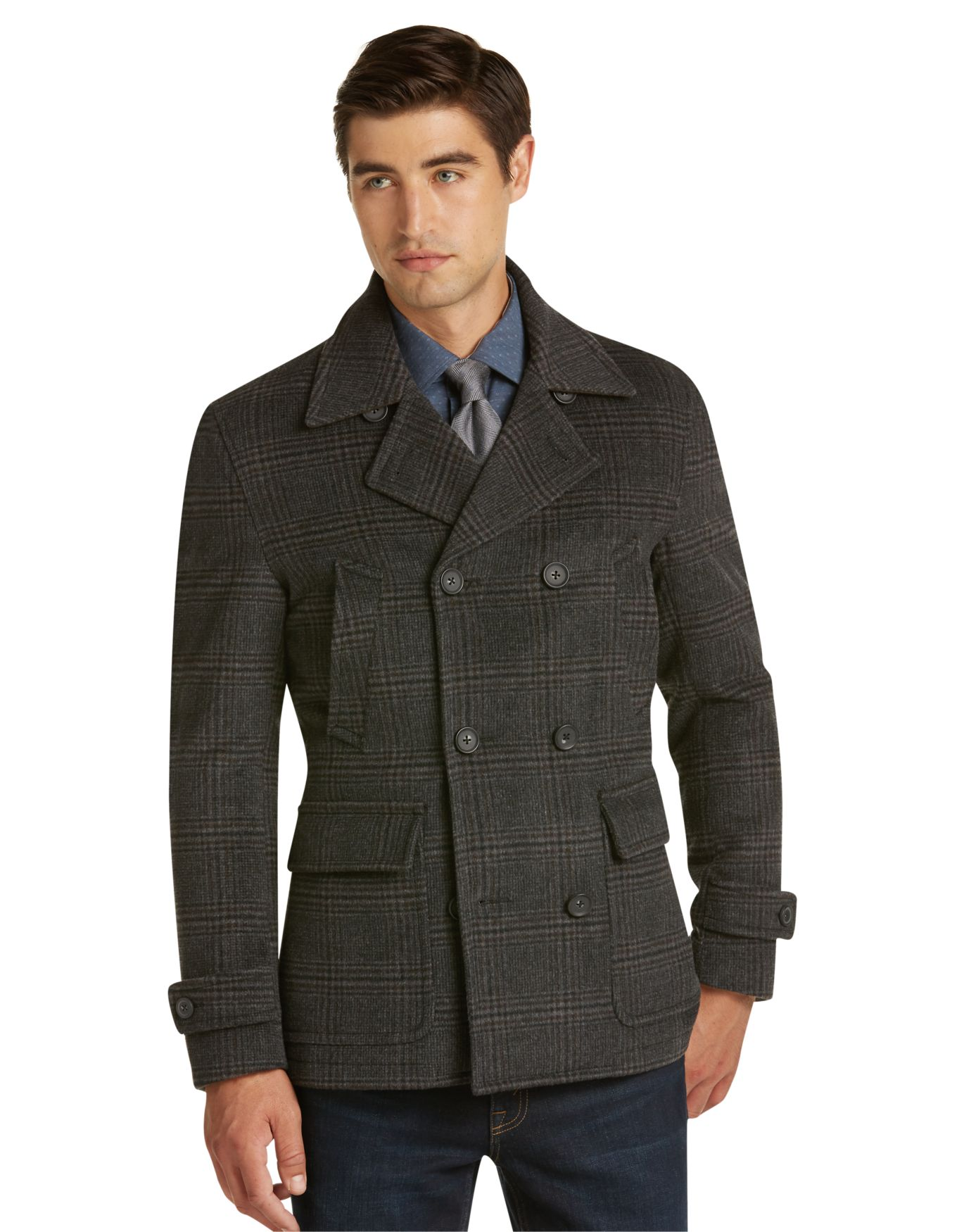 1905 Collection Traditional Fit Plaid Peacoat - Big & Tall ...