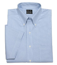 Blue Houndstooth Traveler Short-Sleeve Dress Shirt