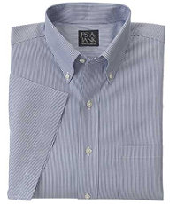 Navy Fine-Line Traveler Short-Sleeve Dress Shirt