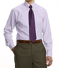 Traveler Tailored Fit Pinpoint Solid Buttondown Collar Dress Shirt
