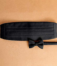 Pre-tied Black Grosgrain Bow Tie and Cummerbund Set