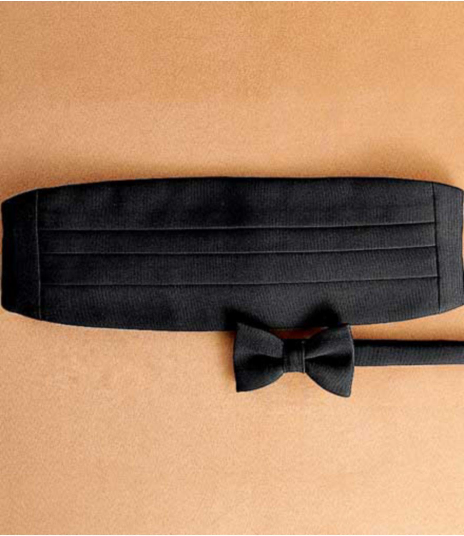Pretied Black Grosgrain Bow Tie And Cummerbund Set