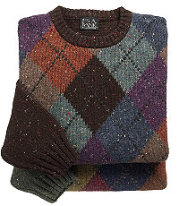 Tweed Argyle Crewneck Lambswool Sweater
