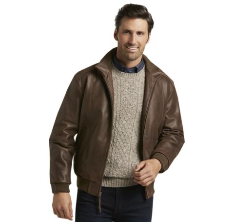 VIP Voyager Traditional Fit Leather Bomber Jacket - Shop All Gifts ...