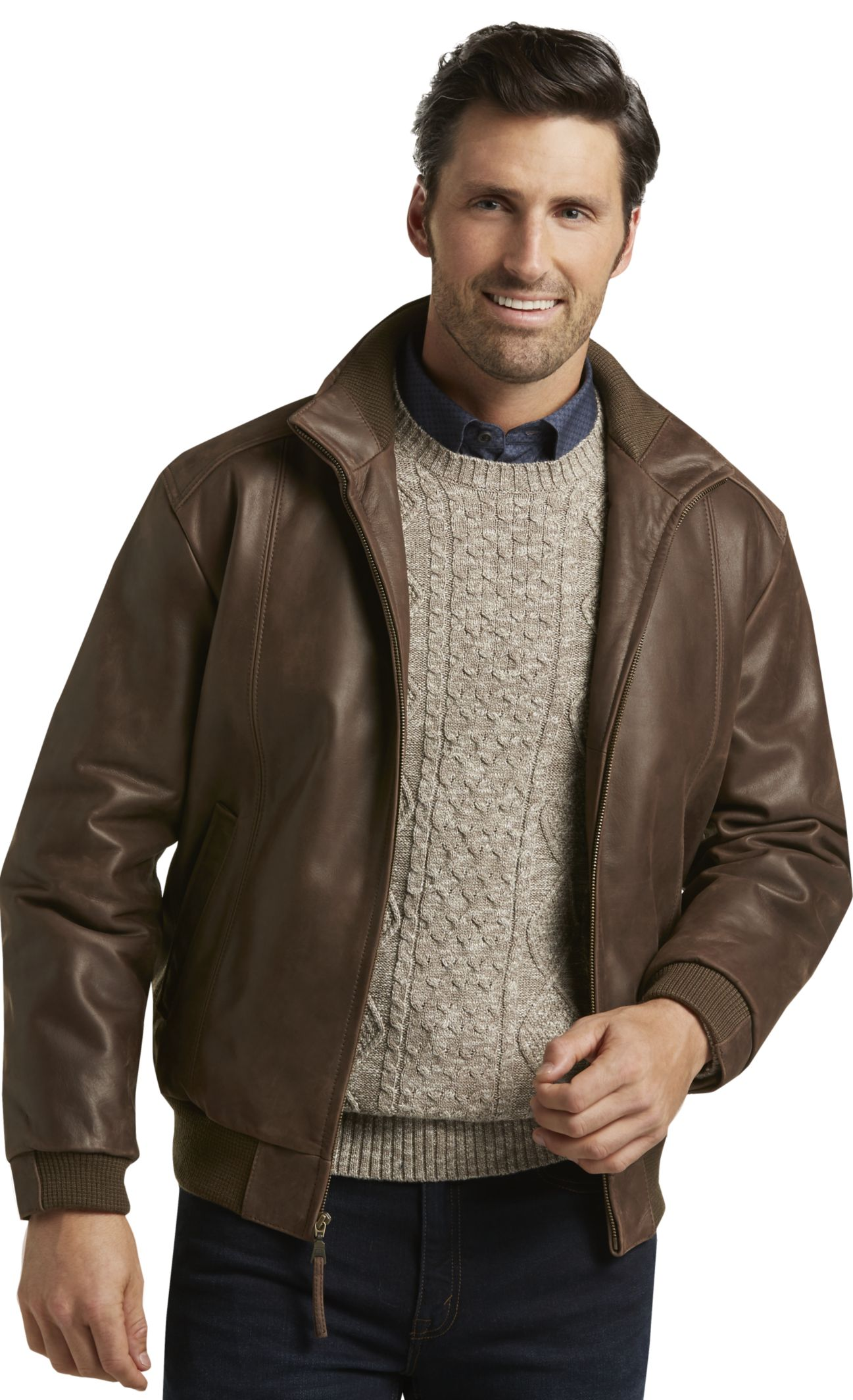 Men S Leather Bomber Jacket