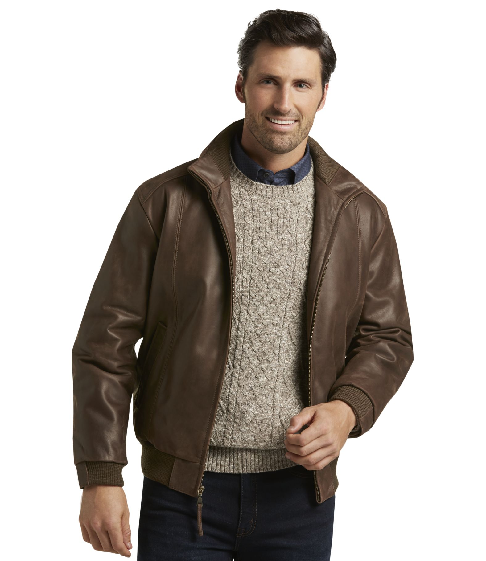 VIP Voyager Traditional Fit Leather Bomber Jacket - | Jos A Bank