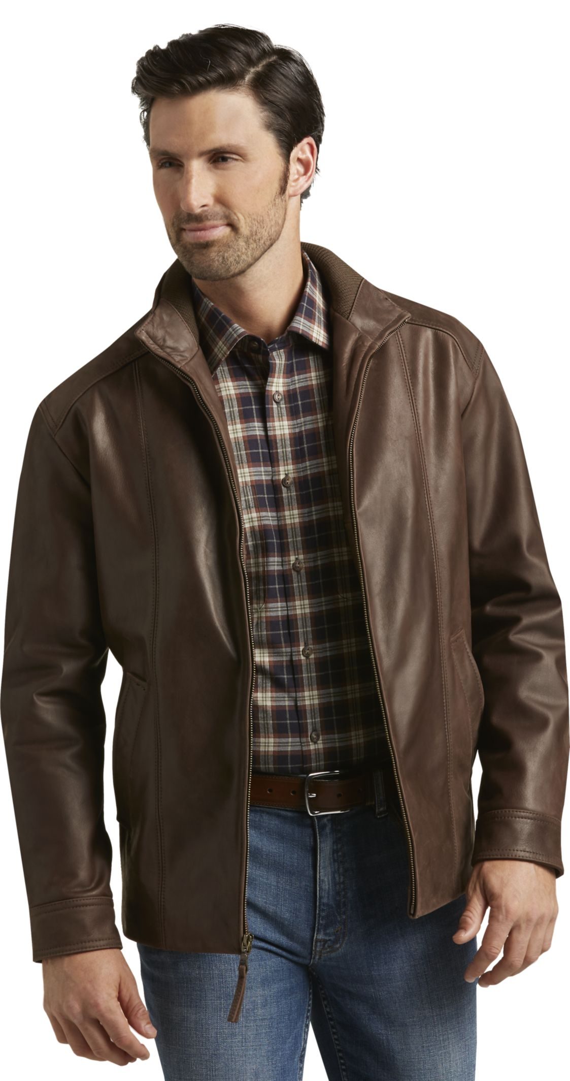 VIP Voyager Traditional Fit Leather Jacket - | Jos A Bank