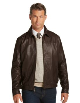 Signature Collection Traditional Fit Leather Bomber Jacket - | Jos ...