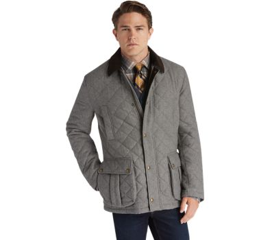 1905 Collection Traditional Fit Herringbone Quilted Barn Coat