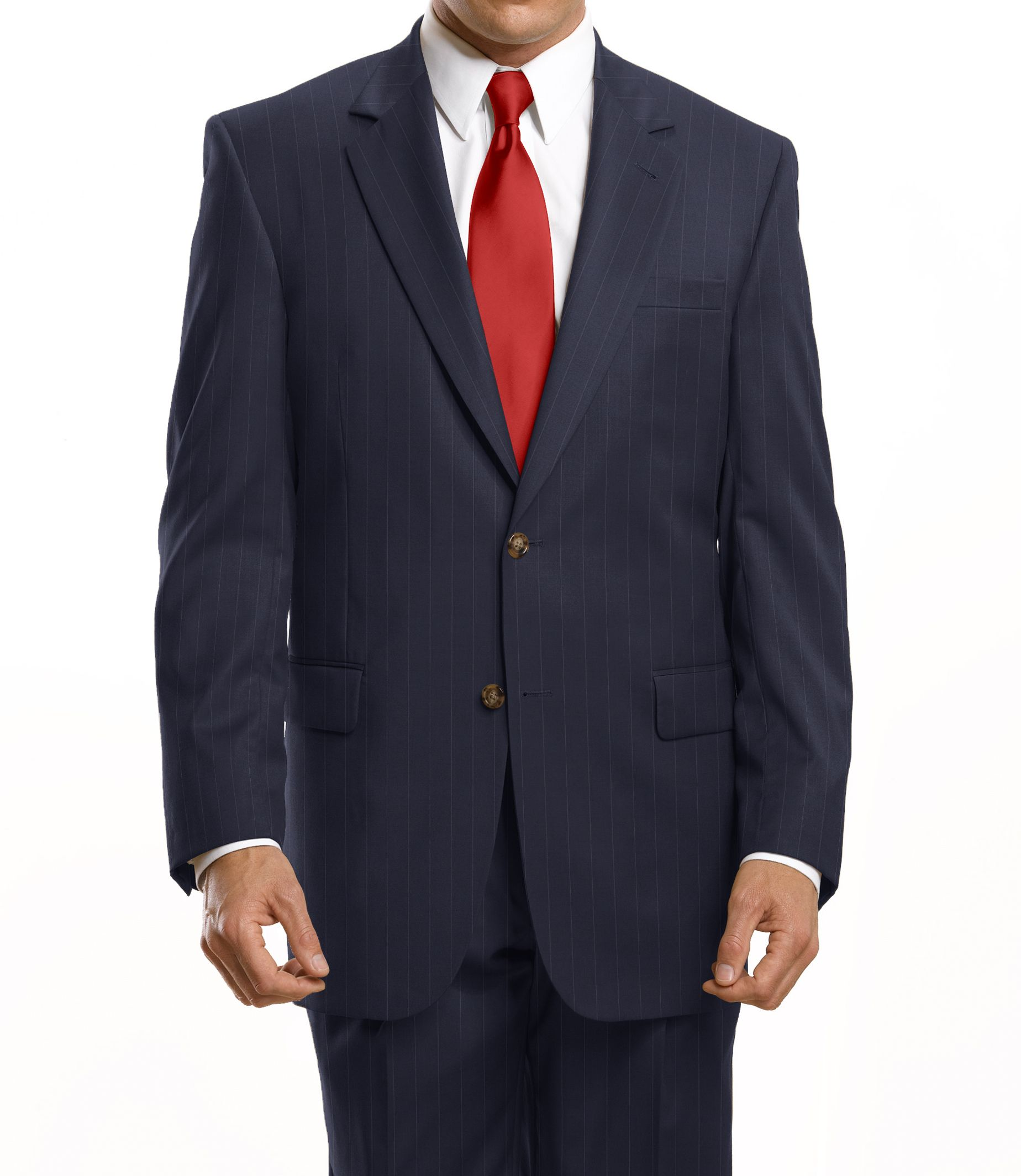 Discount clothing stores Business Express 2-Button Jacket- Navy Stripe- Buy 1, Get 1 FREE, Plus Get 2 Dress Shirts* & 2 Ties* FREE!