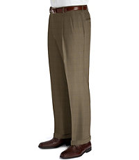 Executive Patterned Pleated Front Wool Trousers