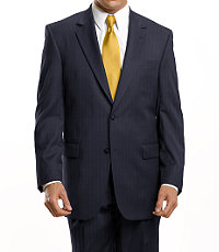 Signature 2-Button Wool Suit-Navy Stripe, Black, or Grey