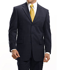 Signature 3-Button Wool Suit-Navy Stripe, Black, or Grey
