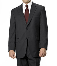 Signature Gold 2-Button Wool Suit- Black, Charcoal Grey Stripe, Navy