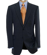 NEW! Signature 2-Button Patterned Wool Suit-Navy Fineline Stripe