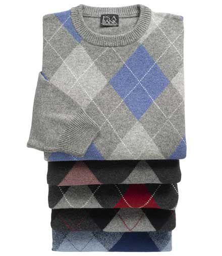 Lambswool Argyle Crewneck Sweater $19.74 AT vintagedancer.com