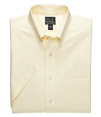 Traveler Pinpoint Short Sleeve Solid Buttondown Dress Shirt