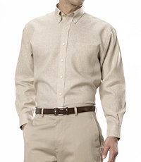 All Linen, Less Wrinkles Solid Color Long Sleeve Sportshirt