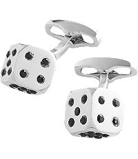 Silver Dice Cufflinks CLEARANCE $29.98 AT vintagedancer.com