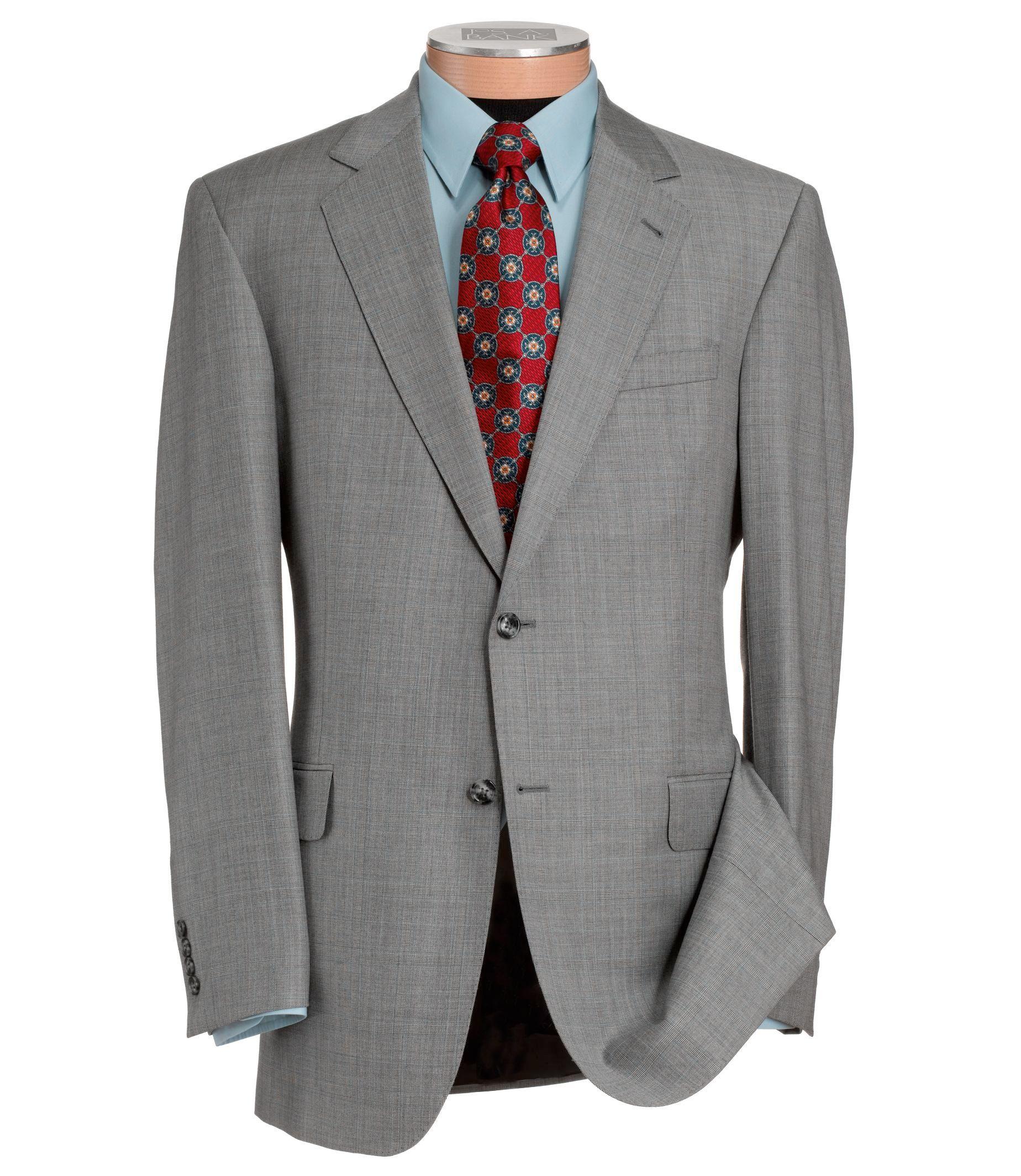 Signature Gold Superfine 2-Button Wool Suit- Black/White Plaid