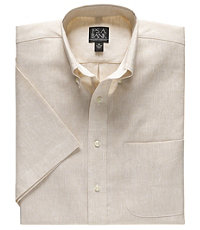 All Linen, Less Wrinkles Solid Color Short-Sleeve Sportshirt