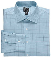 Traveler Tailored Fit Spread Collar Blue/Brown Windowpane Dress Shirt