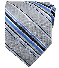 "Basic Silver Multi Satin Stripe 61"" Long Tie"