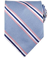 Basic Blue Rib with Pink Satin Stripe Tie