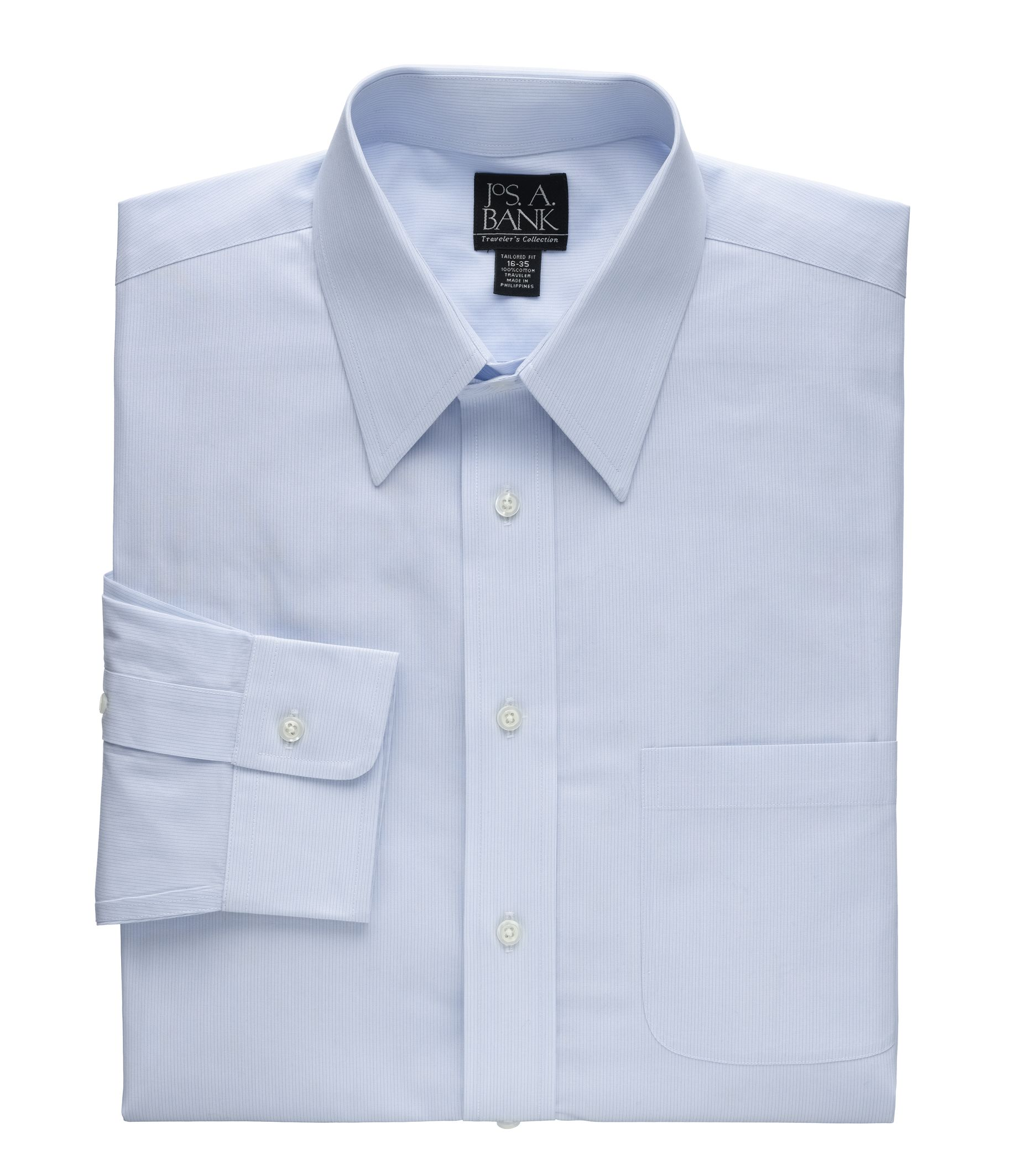 traveler tailored fit point collar fineline dress shirt