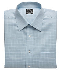 Signature Wrinkle-Free Spread Collar French Cuff Blue Ground Check Dress Shirt