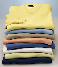 Signature Pima Cotton V Neck Sweater