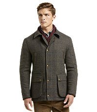 Men's Vintage Style Coats and Jackets 1905 Collection Tailored Fit Windowpane Plaid Barn Jacket $129.00 AT vintagedancer.com